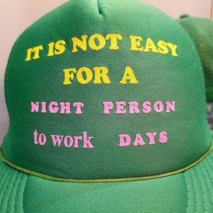 💚 vtg 80s foam trucker cap / hat ironic saying